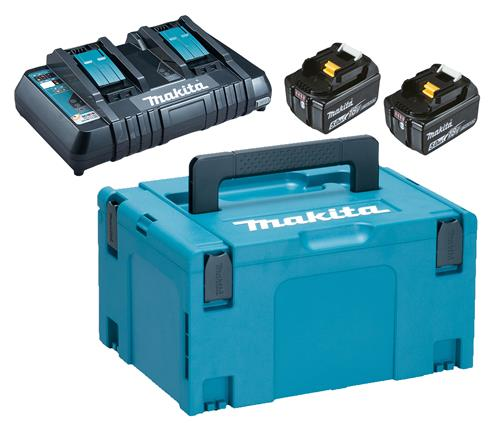 Produktbilde for Makita PowerPack dobbeltlader, 2stk 18V/5,0Ah, koffert