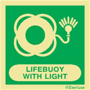 Produktbilde for Lifebuoy with light + symbol 15x15cm IMO